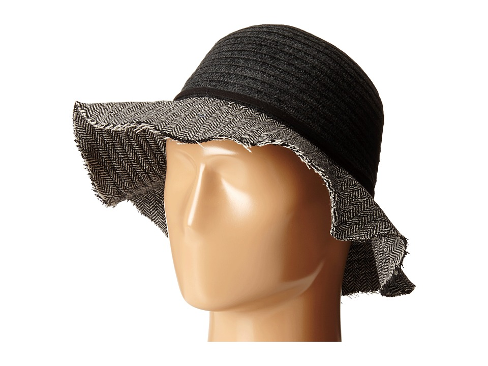 San Diego Hat Company - CTH4121 Chenille Crown with Herringbone Fabric Floppy Brim (Black) Caps