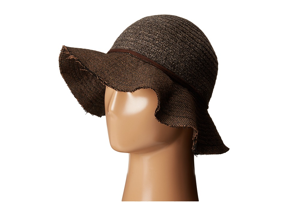 San Diego Hat Company - CTH4121 Chenille Crown with Herringbone Fabric Floppy Brim (Brown) Caps