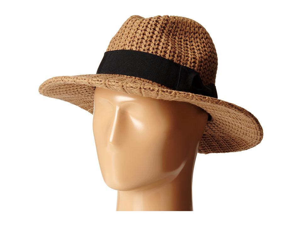 San Diego Hat Company - CTH4117 Woven Yarn Stitch Fedora with Grosgrain Bow (Camel) Fedora Hats