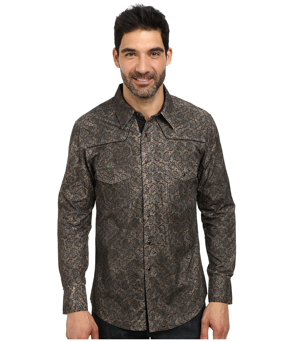 Rock and Roll Cowboy - Long Sleeve Snap B2S3002 (Brown) Men's Long Sleeve Button Up