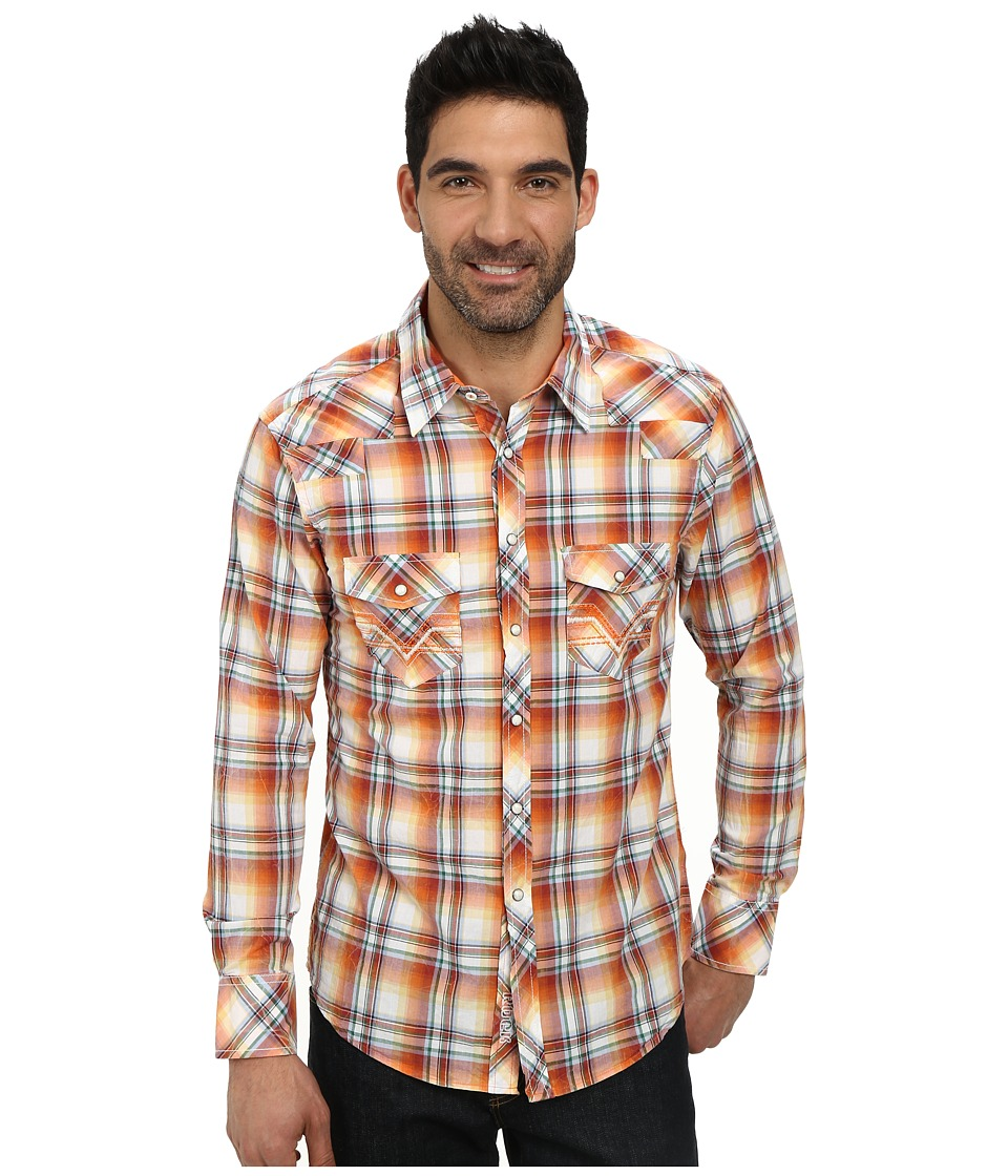 Rock and Roll Cowboy - Long Sleeve Snap B2S3019 (Orange) Men's Long Sleeve Button Up