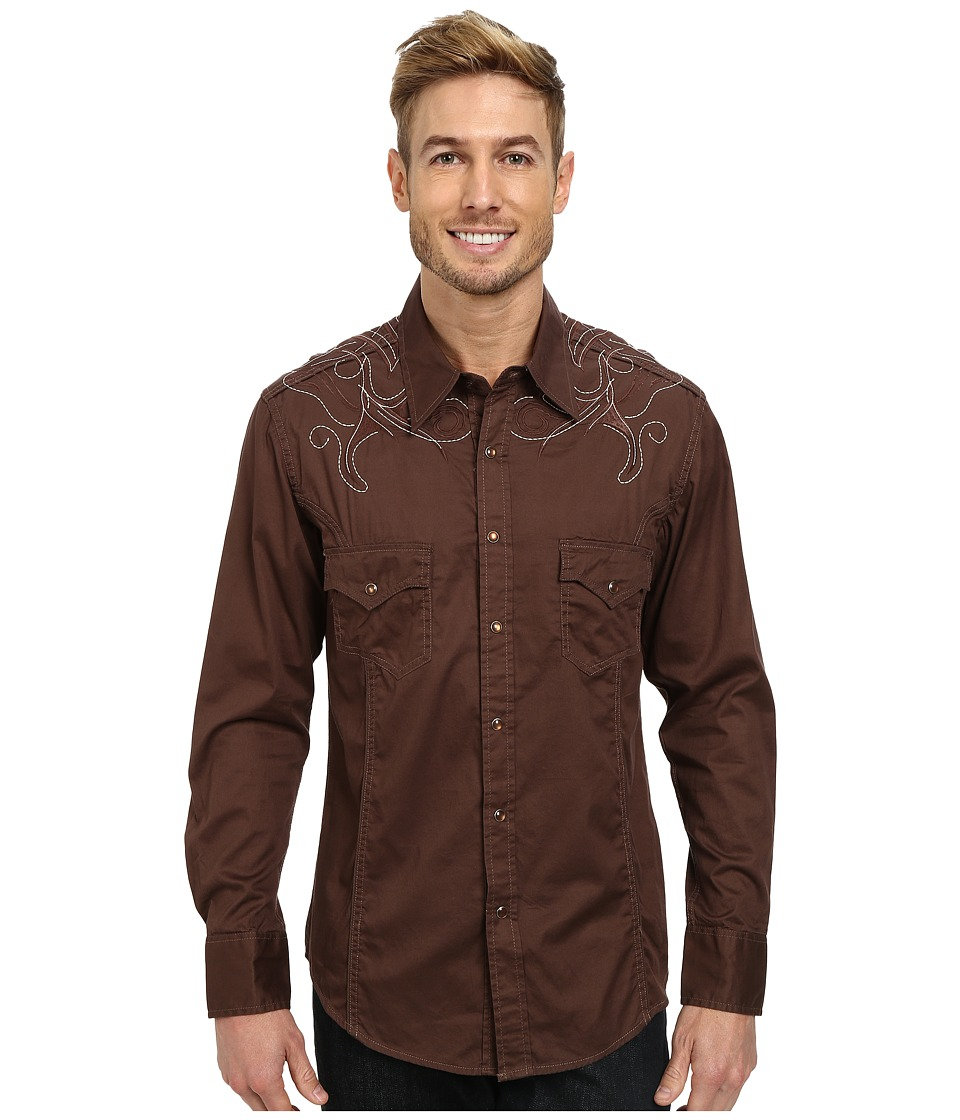 Rock and Roll Cowboy - Long Sleeve Snap B2S3027 (Brown) Men's Long Sleeve Button Up