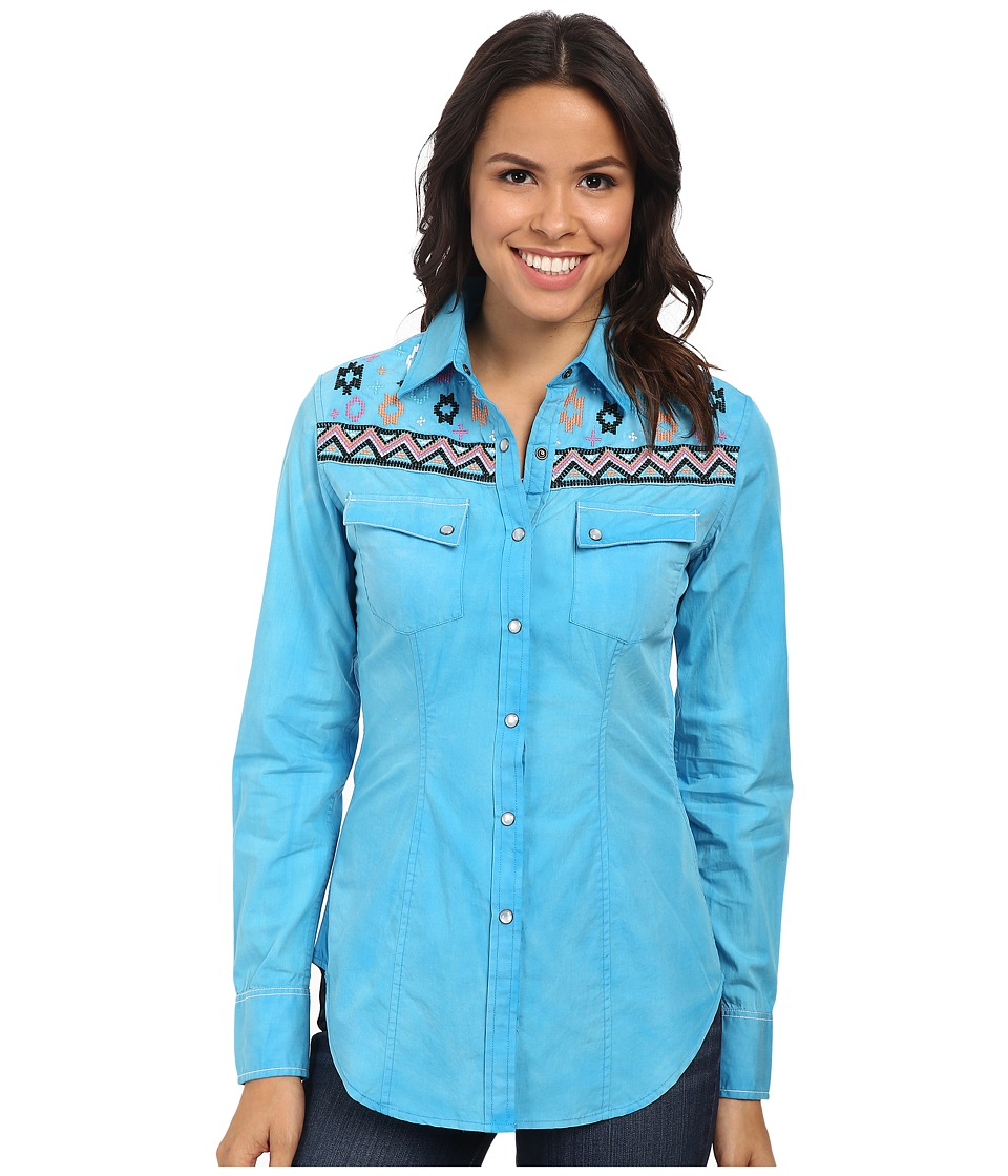 Rock and Roll Cowgirl - Long Sleeve Snap B4S3783 (Turquoise) Women's Clothing