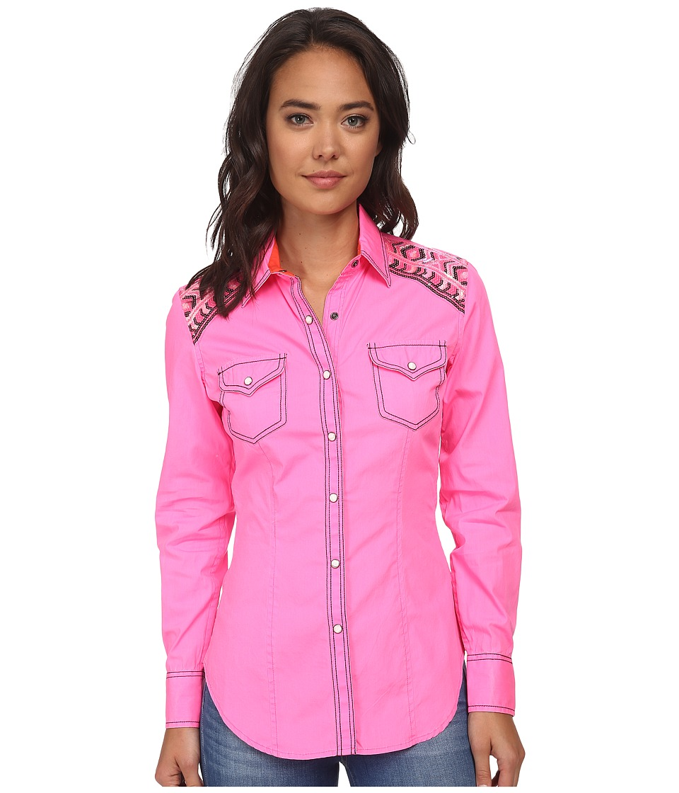 Rock and Roll Cowgirl - Long Sleeve Snap B4S2502 (Hot Pink) Women's Clothing