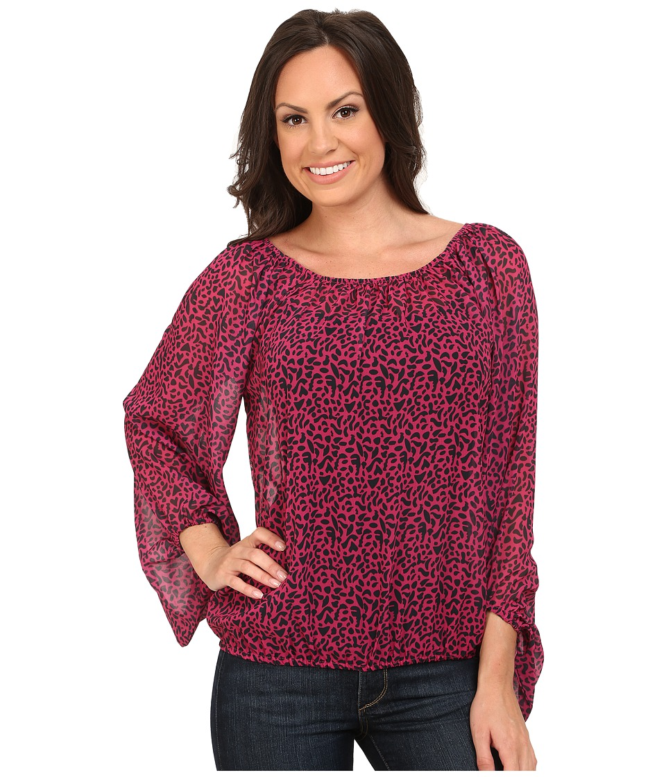 Rock and Roll Cowgirl - 3/4 Sleeve Top B4-3789 (Hot Pink) Women's Clothing