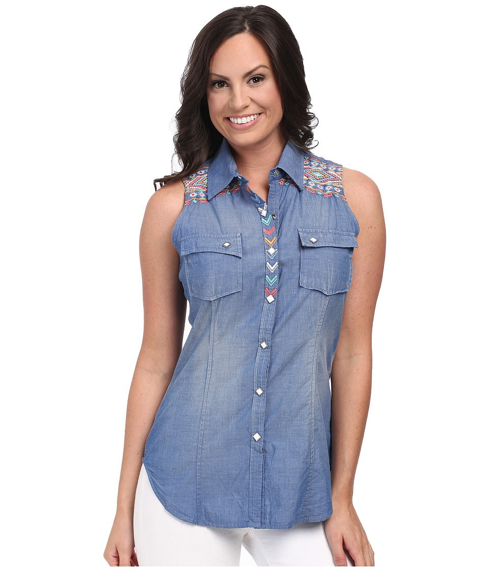 Rock and Roll Cowgirl - Sleeveless Snap B5S3777 (Blue) Women's Sleeveless