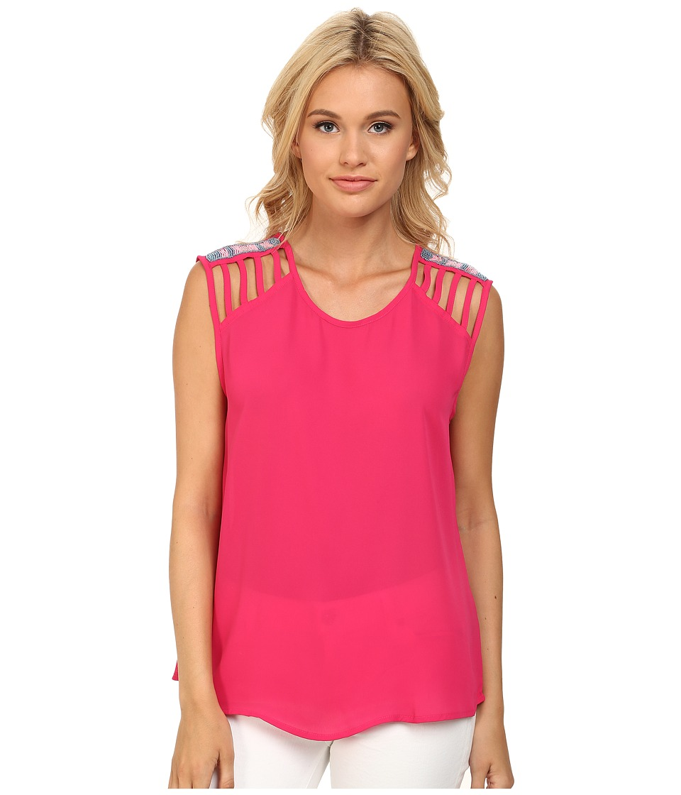 Rock and Roll Cowgirl - Georgette Tank Top B5-3774 (Fuchsia) Women's Sleeveless