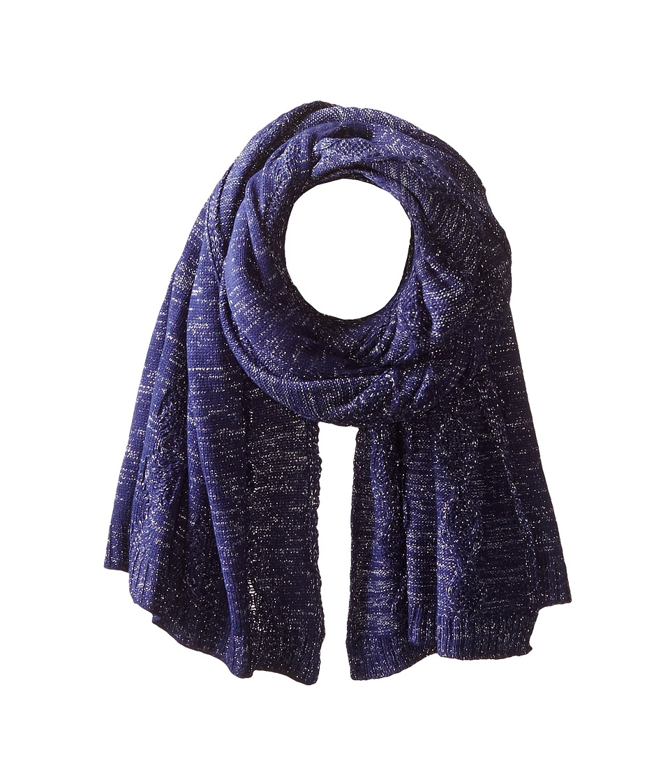 San Diego Hat Company - BSS1517 Blanket Scarf with Cable Stitch and Silver Metallic Yarn (Cobalt) Scarves