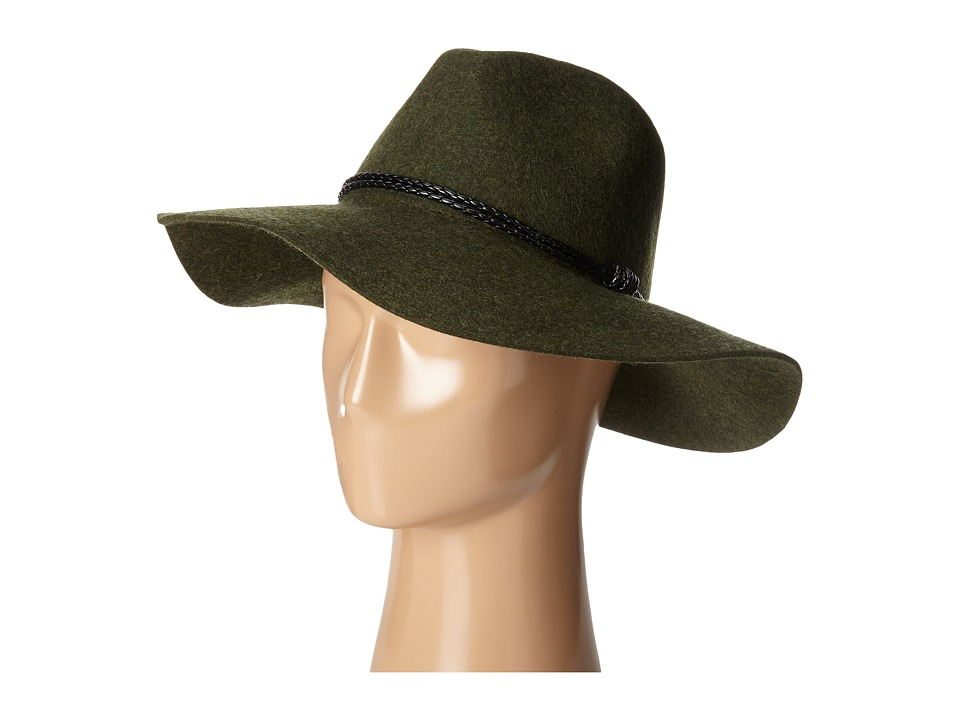 San Diego Hat Company - WFH8017 Floppy with Pinch Crown and Double Wrapped Faux Fur Leather Band (Forest Green) Caps