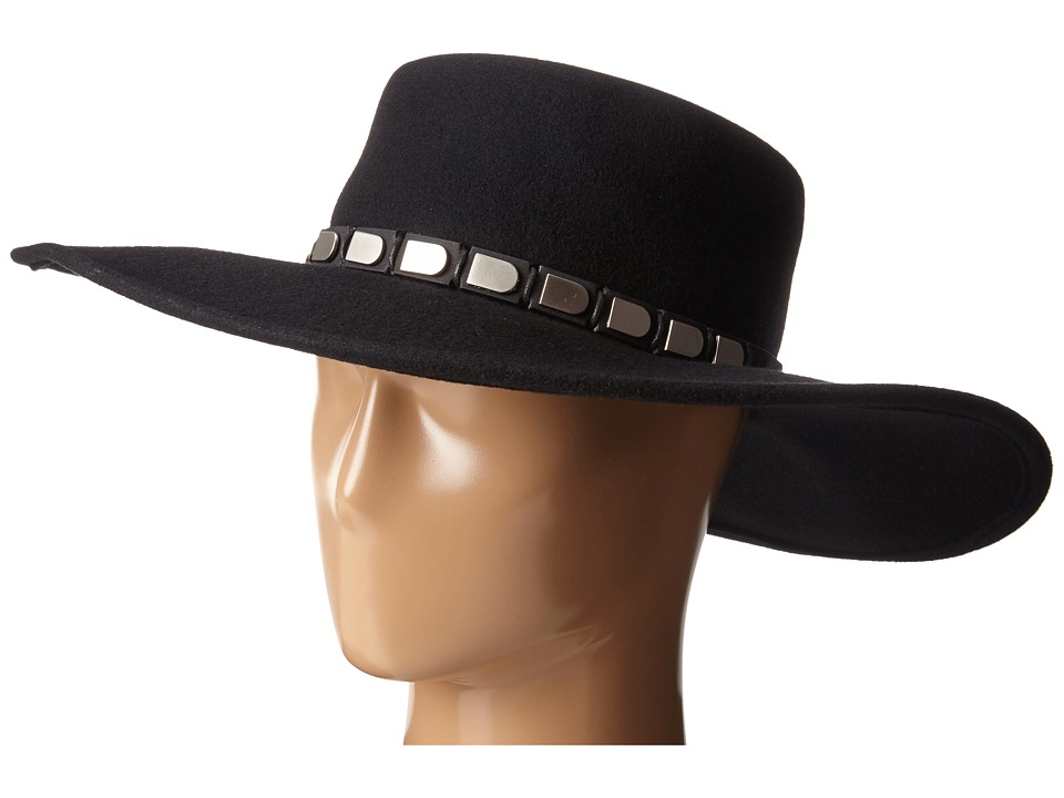 San Diego Hat Company - WFH8013 Floppy Brim with Silver Faux Leather Band (Black) Caps