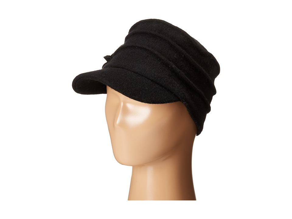 San Diego Hat Company - SDH0518 Wool Cadet with Right Side Flower (Black) Caps