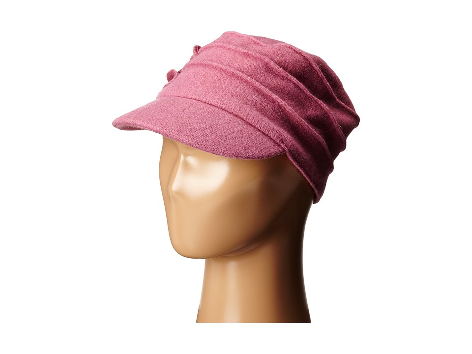 San Diego Hat Company - SDH0518 Wool Cadet with Right Side Flower (Dusty Rose) Caps