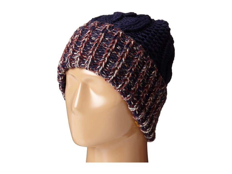 San Diego Hat Company - KNH3378 Oversized Cable Knit Beanie with Marled Yarn Cuff (Navy) Beanies