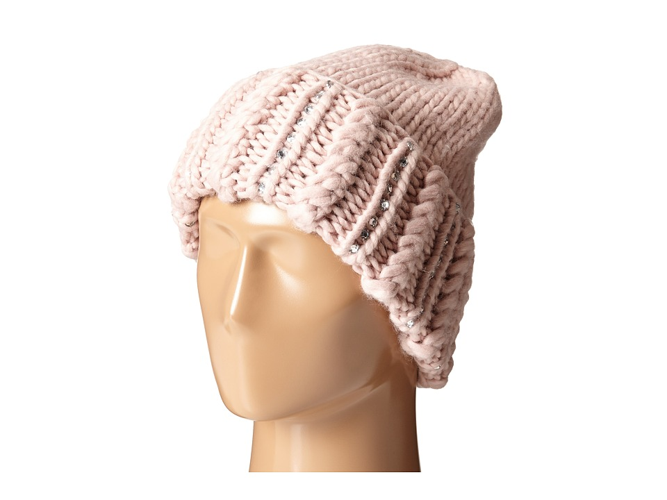 San Diego Hat Company - KNH3354 Chunky Yarn Beanie with Hand Stitched Faux Gems On The Cuff (Blush) Beanies