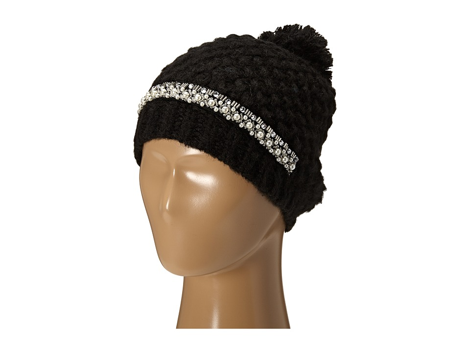 San Diego Hat Company - KNH3384 Chunky Stitch Beanie with Faux Gem Details and Pom Pom (Black) Beanies