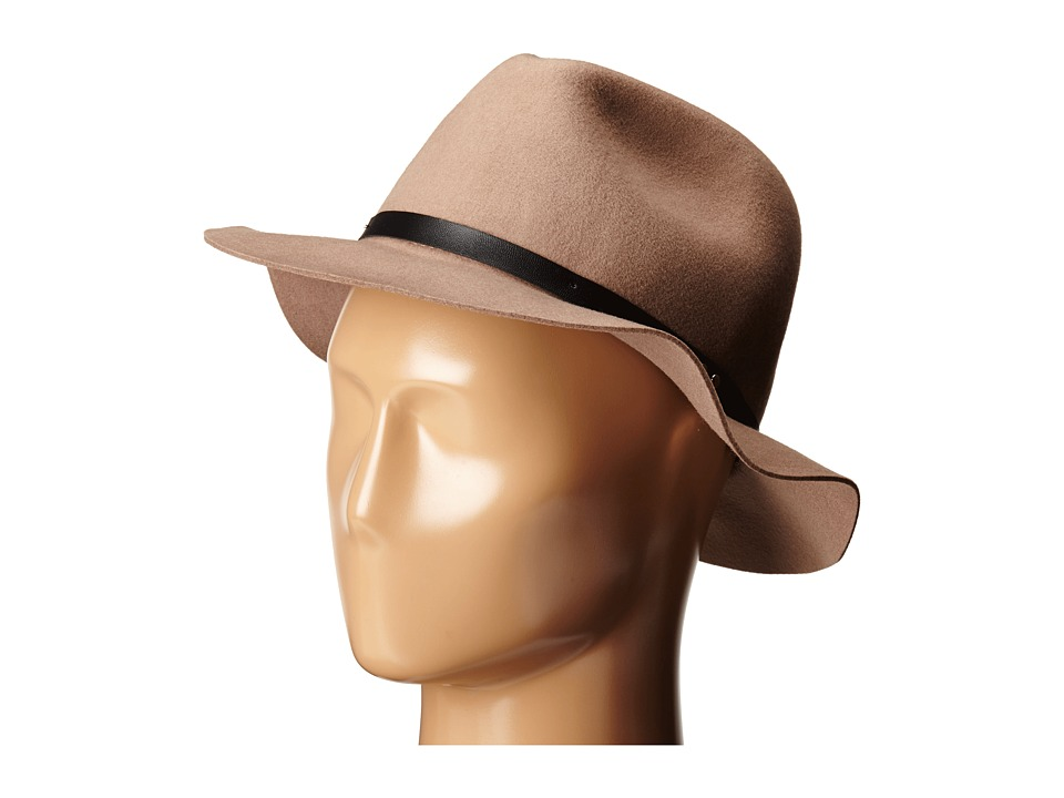 San Diego Hat Company - WFH7976 Adjustable Fedora with PU Band and Raw Brim Edge (Pecan) Fedora Hats