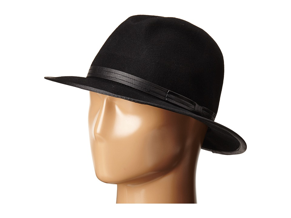 San Diego Hat Company - WFH7974 Adjustable Fedora with PU Band and PU Edge (Black) Fedora Hats