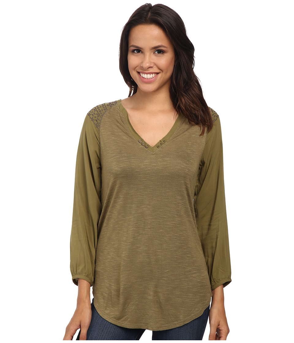 Sanctuary - Wayward Boho Top (Country Green/Charcoal) Women's Long Sleeve Pullover