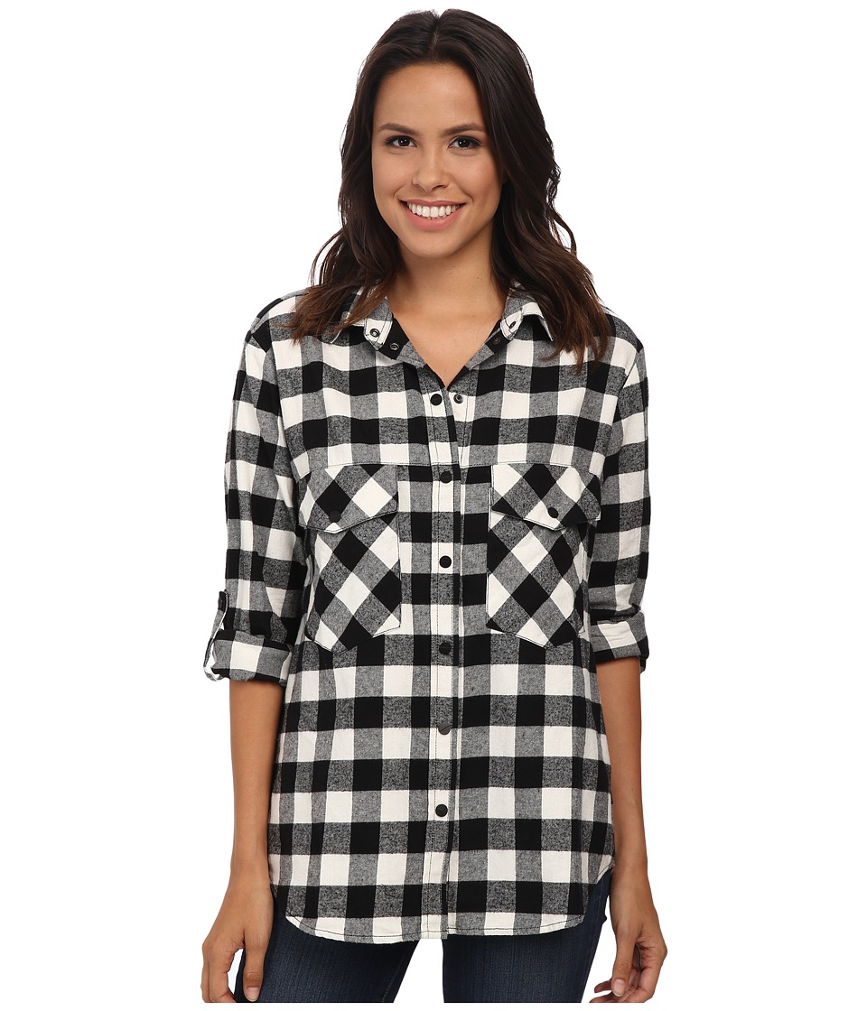 Sanctuary - Boyfriend Shirt (Black/Moonrise) Women's Long Sleeve Button Up
