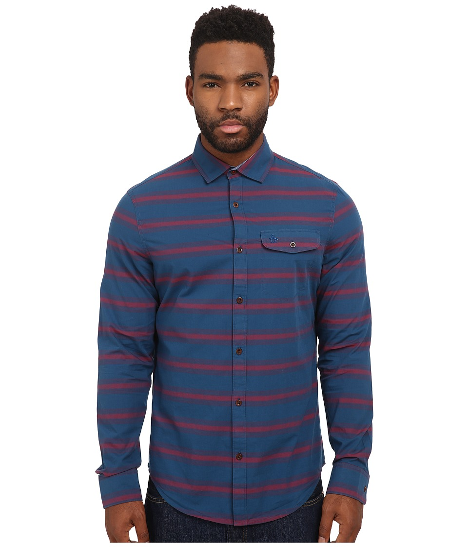Original Penguin - P55 Horizontal Stripe Long Sleeve Woven Heritage Shirt (Poseidon Blue) Men's Long Sleeve Button Up