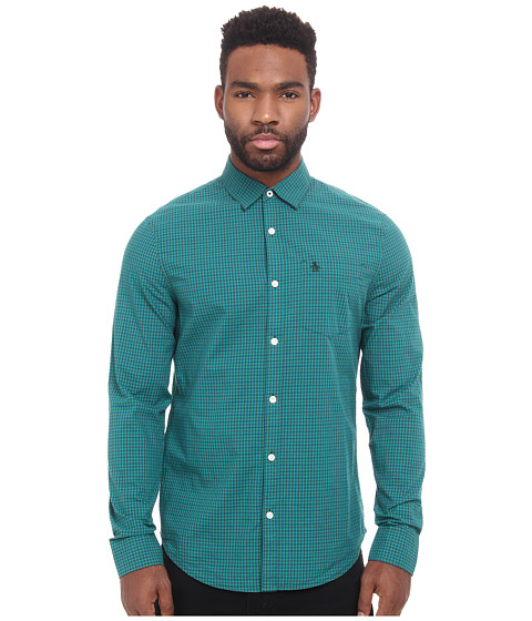 Original Penguin - P55 3 Color Mini Gingham Long Sleeve Woven Heritage Shirt (Sycamore) Men's Long Sleeve Button Up