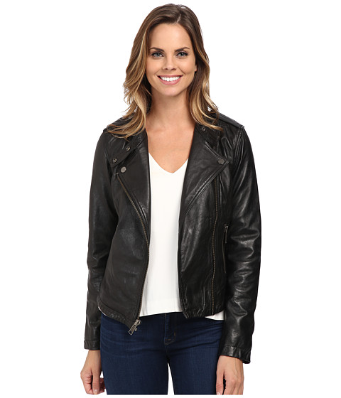 Sanctuary - Vintage Inspired Leather Moto Jacket (Black) Women