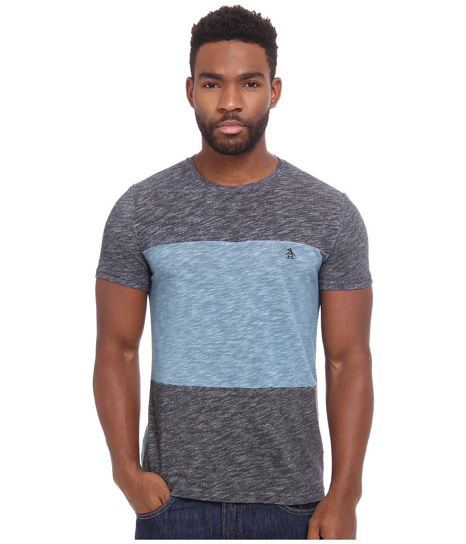 Original Penguin - Panelled Fleck Jersey Heritage Tee (Aegean Blue) Men