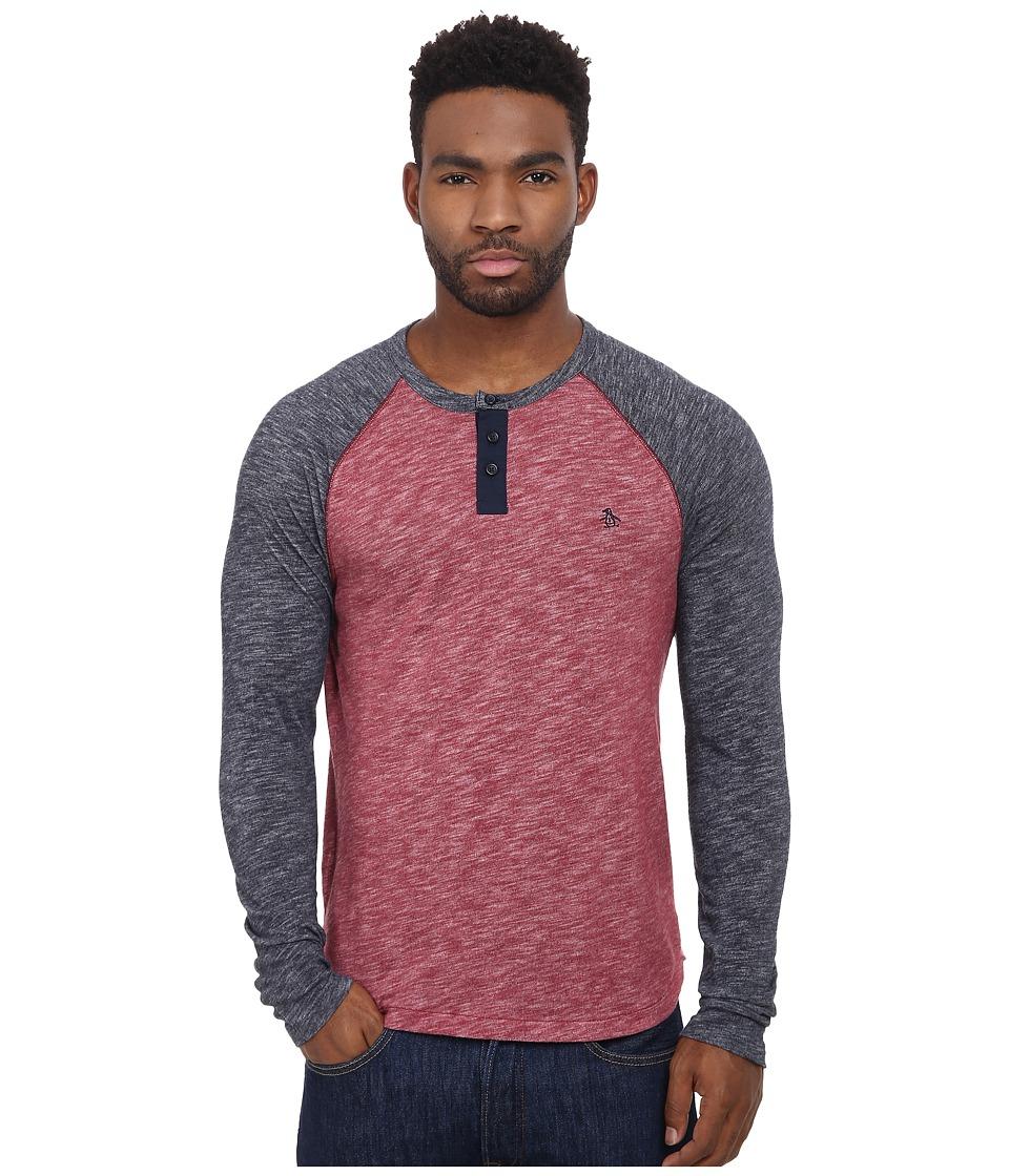 Original Penguin - Slub Color Block Henley (Pomegranate) Men's Clothing
