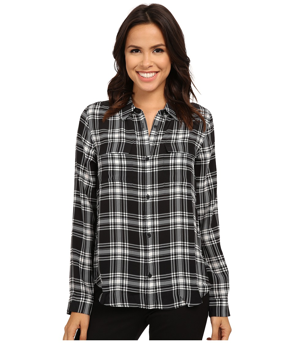 Sanctuary - Silk Boyfriend Shirt (Black/White Plaid) Women's Clothing
