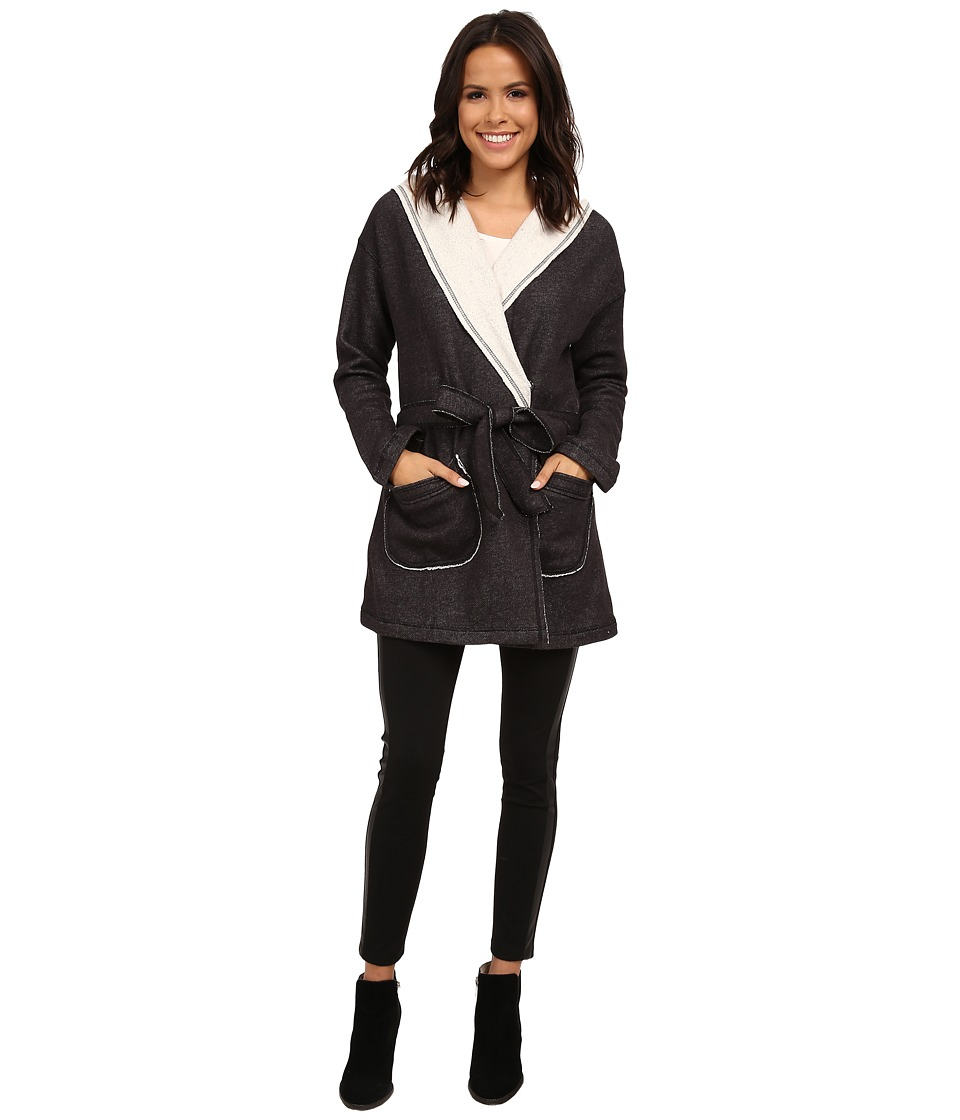 Sanctuary - Fleece Wrap Jacket (Charcoal/Natural) Women's Coat