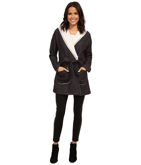 Sanctuary - Fleece Wrap Jacket (Charcoal/Natural) Women
