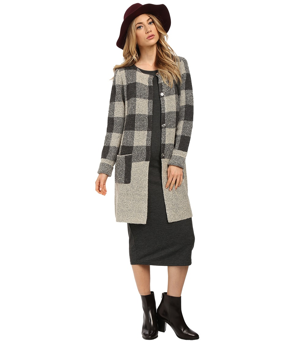 Sanctuary - Essential Sweater Knit City Coat (Charcoal/Natural) Women's Sweater