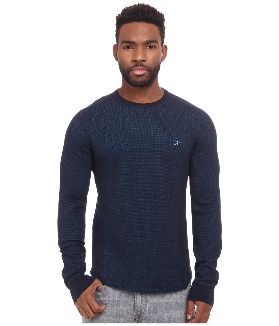 Original Penguin - Reversible Waffle Crew Sweatshirt (Dark Sapphire) Men's Sweatshirt