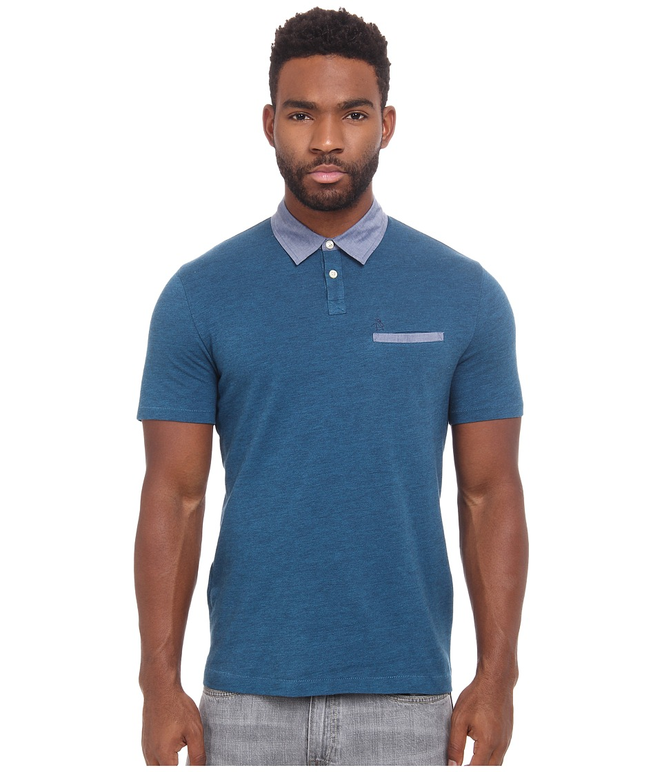 Original Penguin - Birsdeye Pique Polo with Chambray Detai Long Sleeve Heritage (Dark Sapphire) Men's Clothing