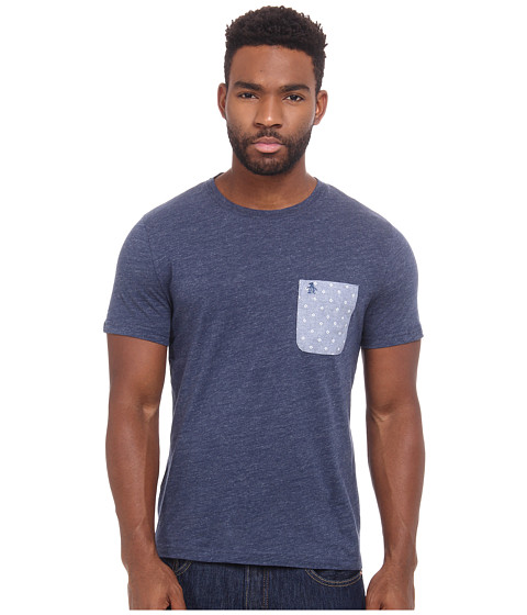 Original Penguin - Printed Oxford Pocket Heritage Tee (Poseidon Blue) Men's T Shirt