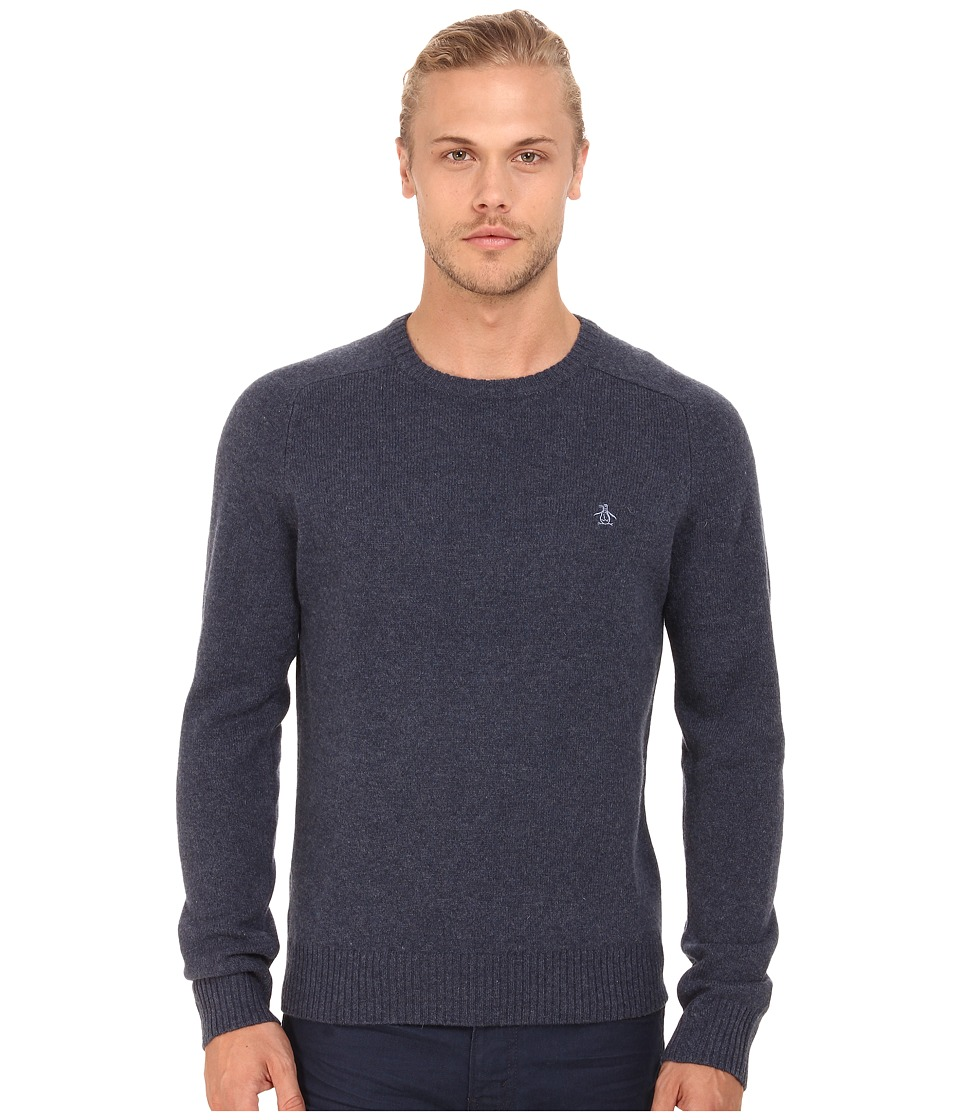 Original Penguin - Lambswool Crew w/ Contrast (Dark Sapphire) Men's Clothing