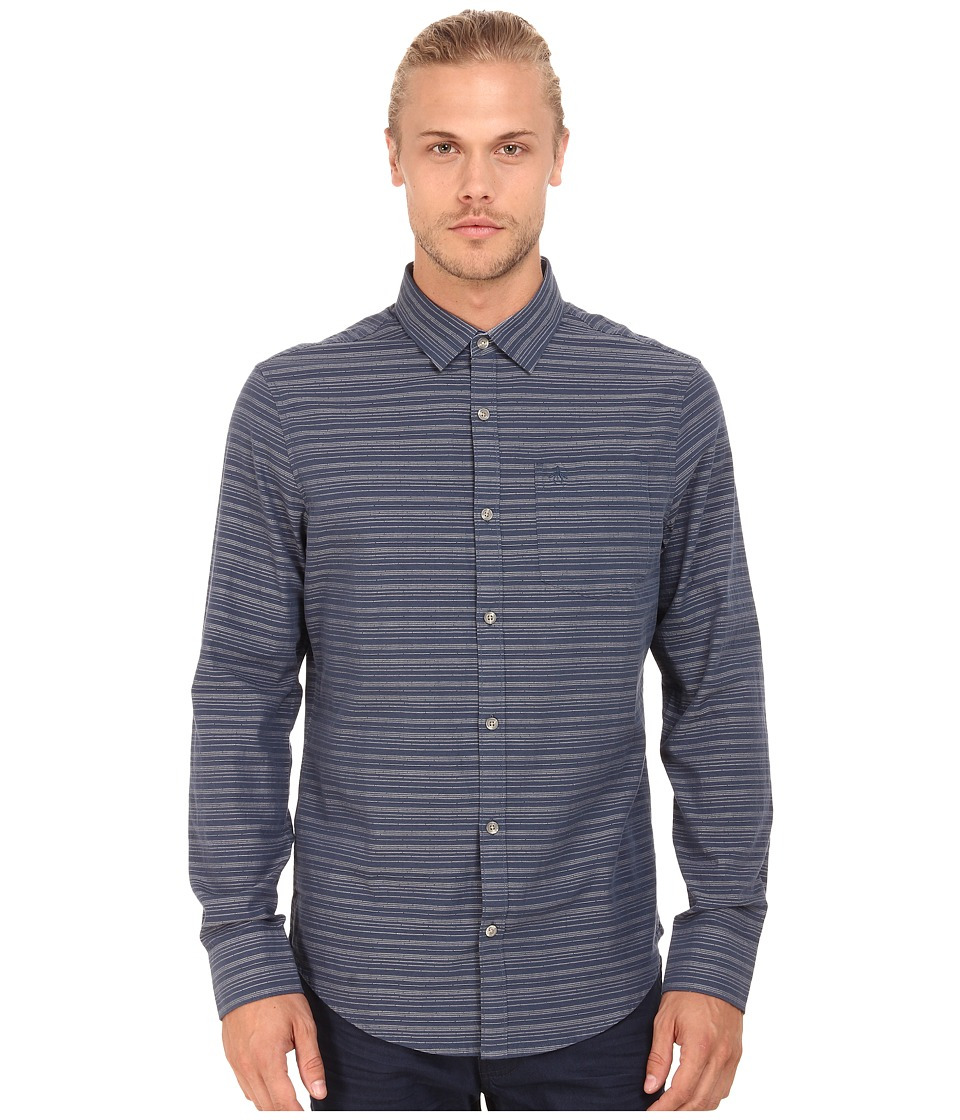 Original Penguin - Dobby W. Horizontal Striped Long Sleeve Woven Heritage Shirt (Dark Denim) Men's Long Sleeve Button Up