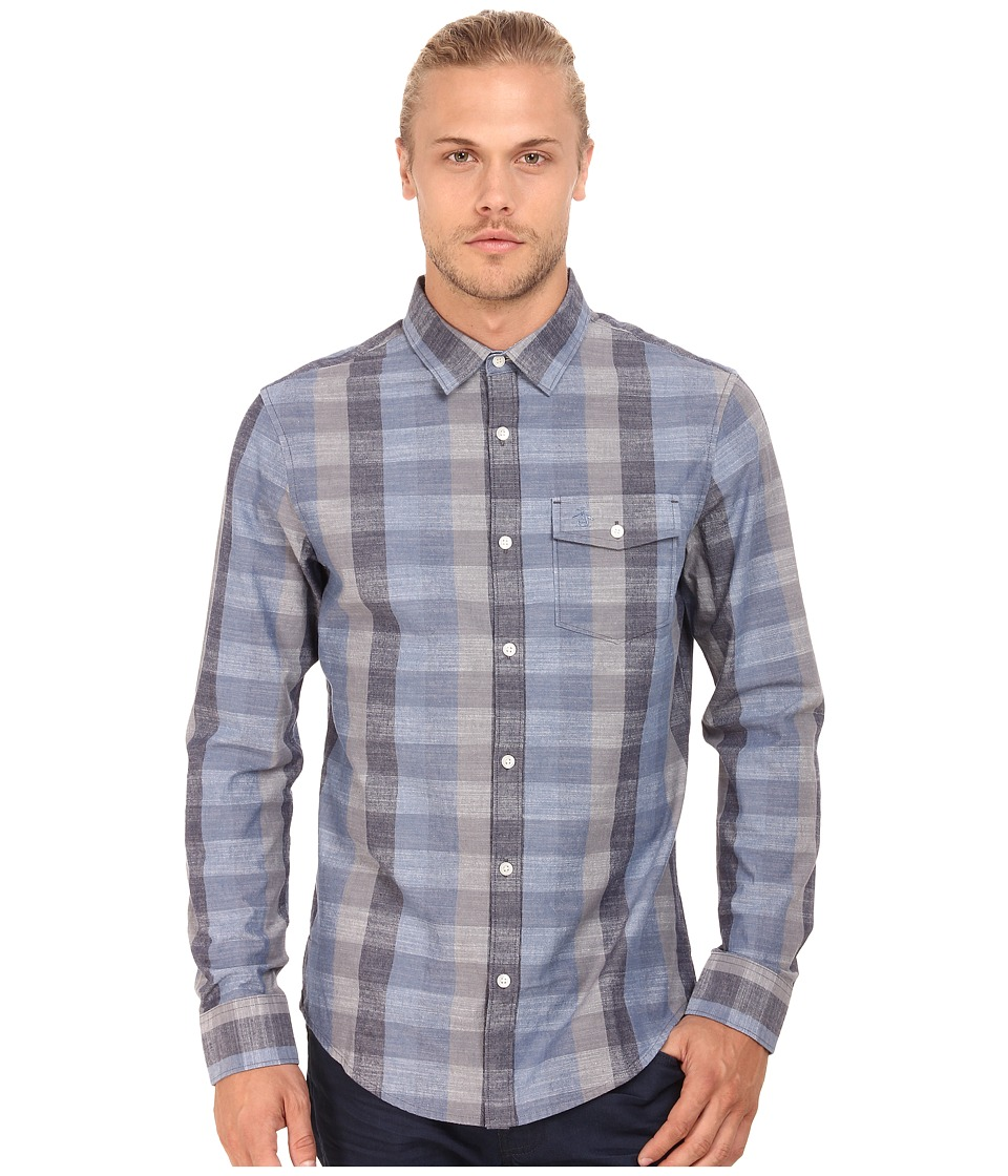 Original Penguin - Large Check Chambray Long Sleeve Woven Heritage (Dark Denim) Men's Long Sleeve Button Up