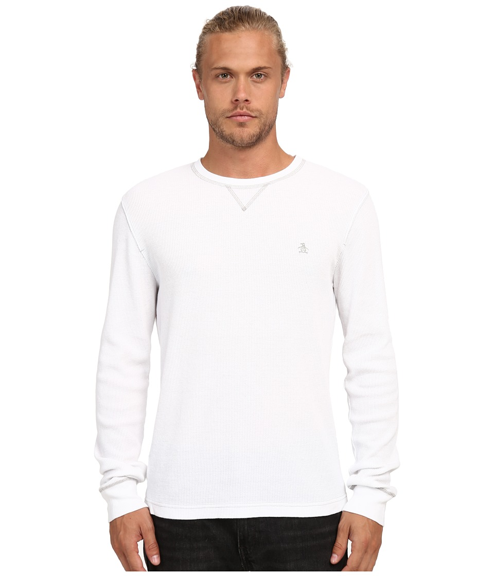 Original Penguin - Waffle Crew Neck (Bright White) Men's Clothing