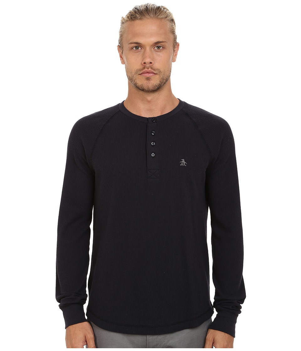 Original Penguin - Long Sleeve Worrell Waffle Henley (True Black) Men's Clothing