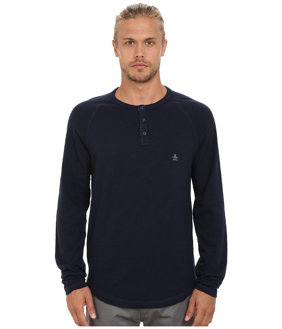 Original Penguin - Heathered Slub Henley (Dark Sapphire) Men's Clothing