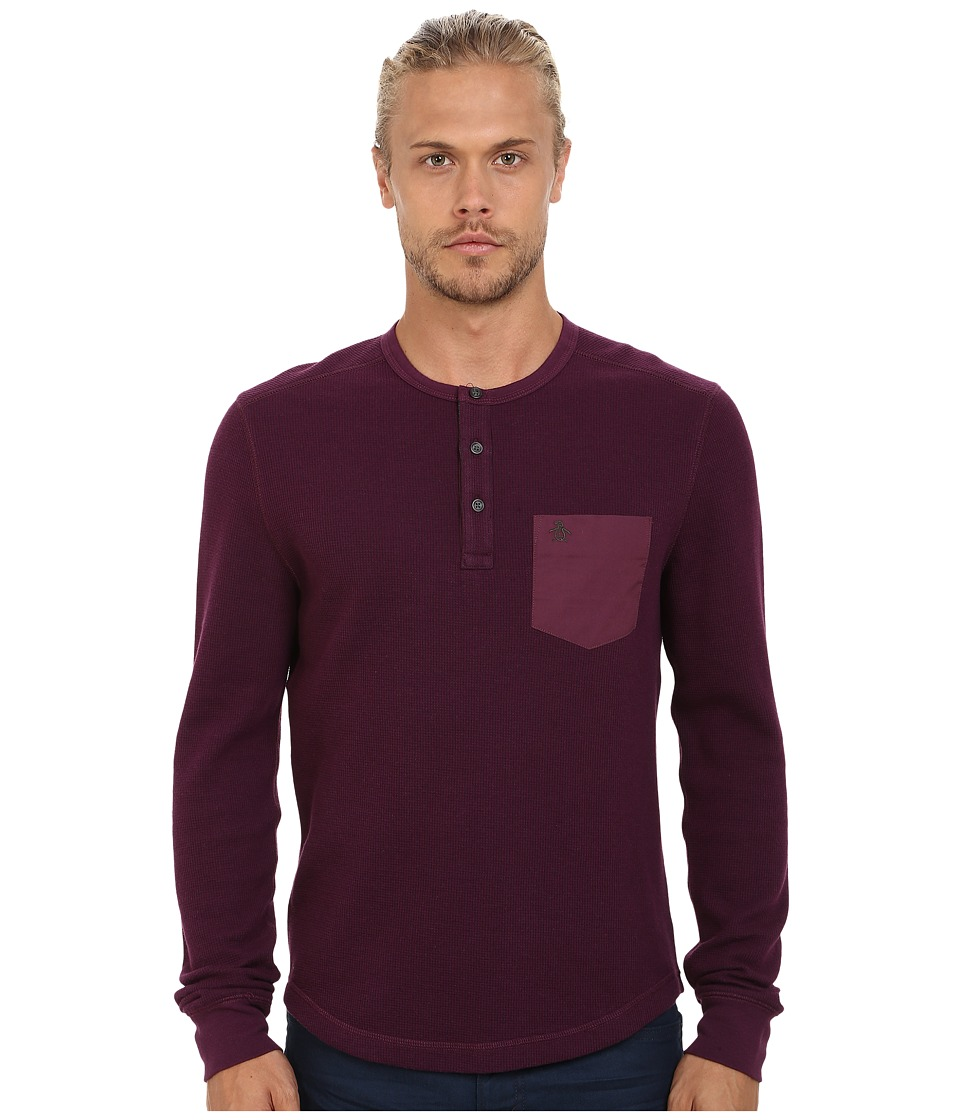 Original Penguin - Waffle Henley (Italian Plum) Men's T Shirt