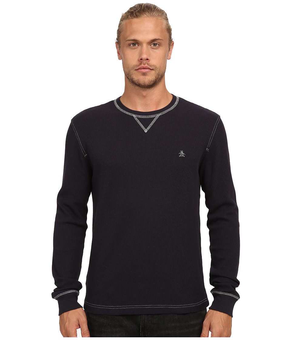 Original Penguin - Waffle Crew Neck (True Black) Men