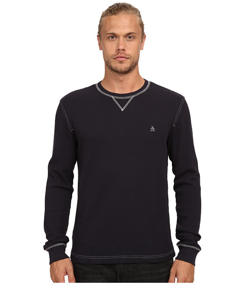 Original Penguin - Waffle Crew Neck (True Black) Men's Clothing