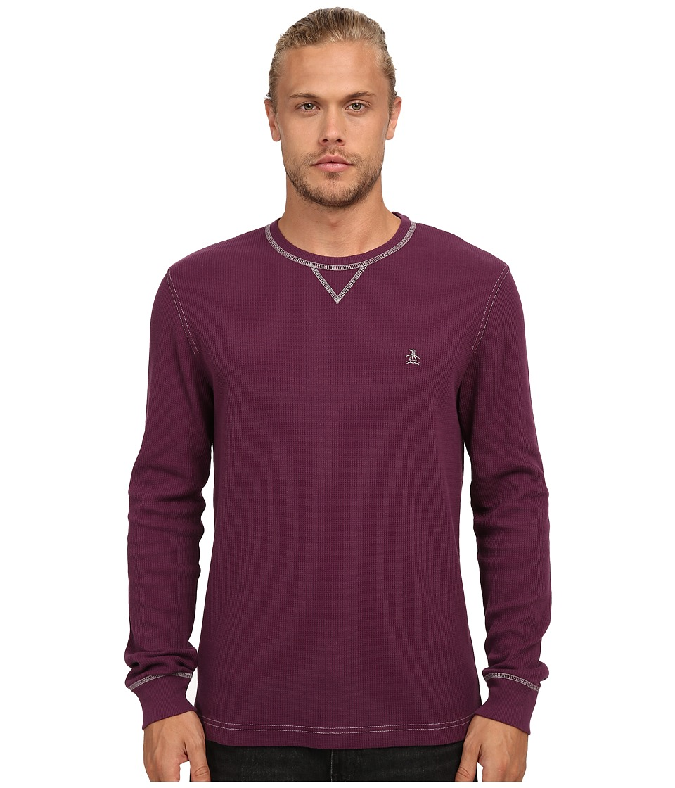 Original Penguin - Waffle Crew Neck (Italian Plum) Men's Clothing