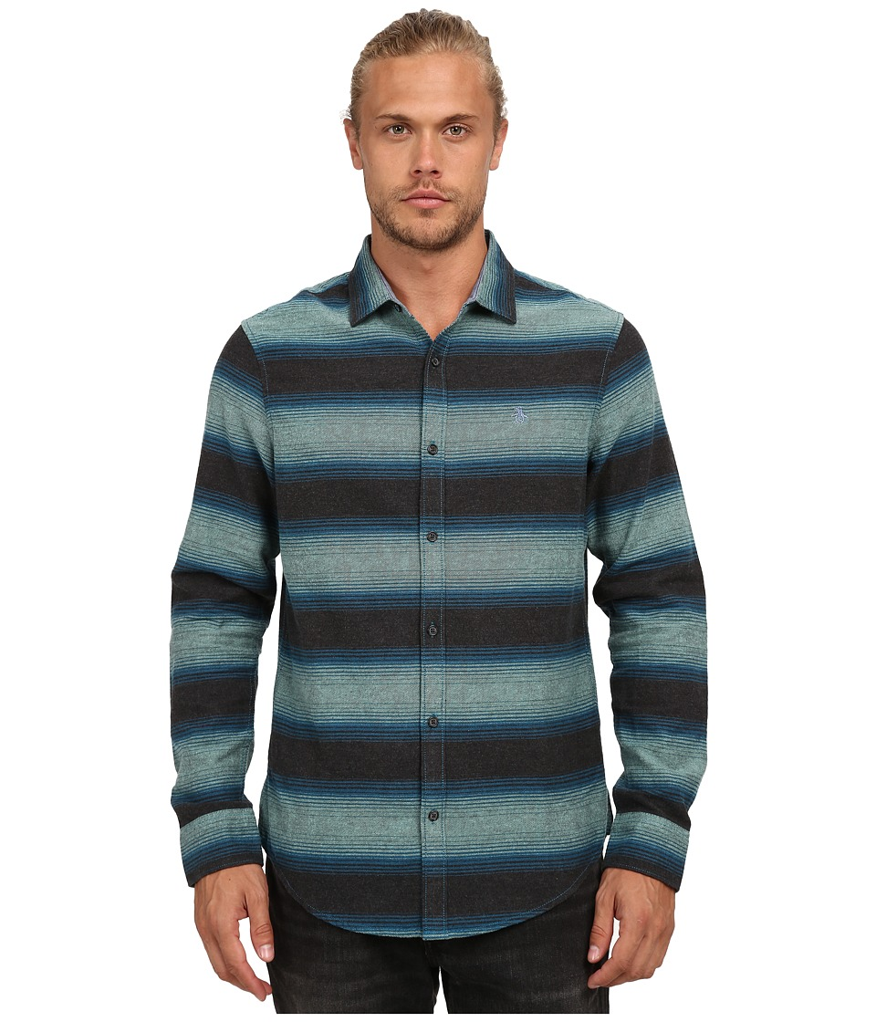 Original Penguin - Heathered Horizontal Stripe Flannel Long Sleeve Woven Heritage (Canton) Men's Long Sleeve Button Up