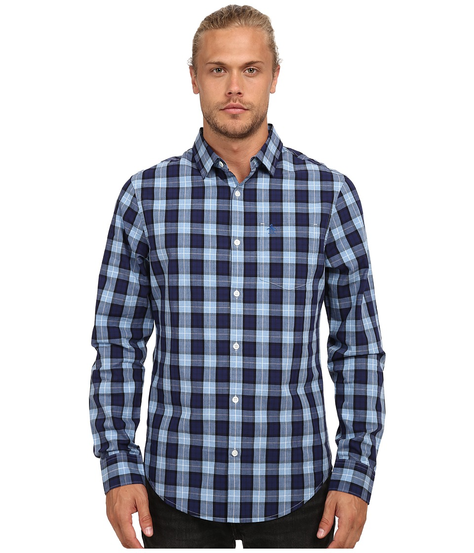 Original Penguin - Heathered Plaid Long Sleeve Woven Heritage Shirt (Snorkel Blue) Men's Long Sleeve Button Up