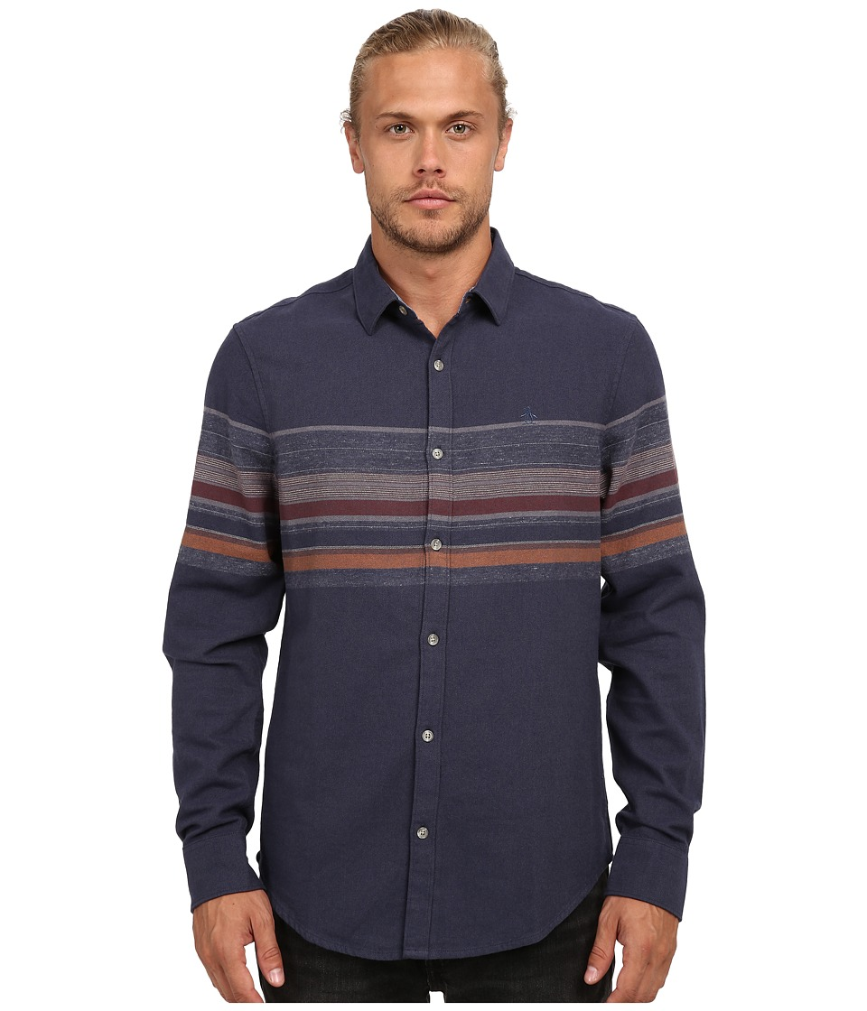 Original Penguin - Engineered Stripe Woven Long Sleeve Heritage Shirt (Dark Denim) Men's Long Sleeve Button Up