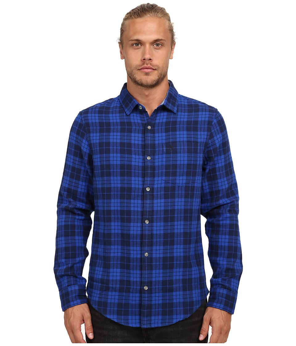 Original Penguin - Plaid Double Long Sleeve Heritage Woven (Snorkel Blue) Men's Long Sleeve Button Up