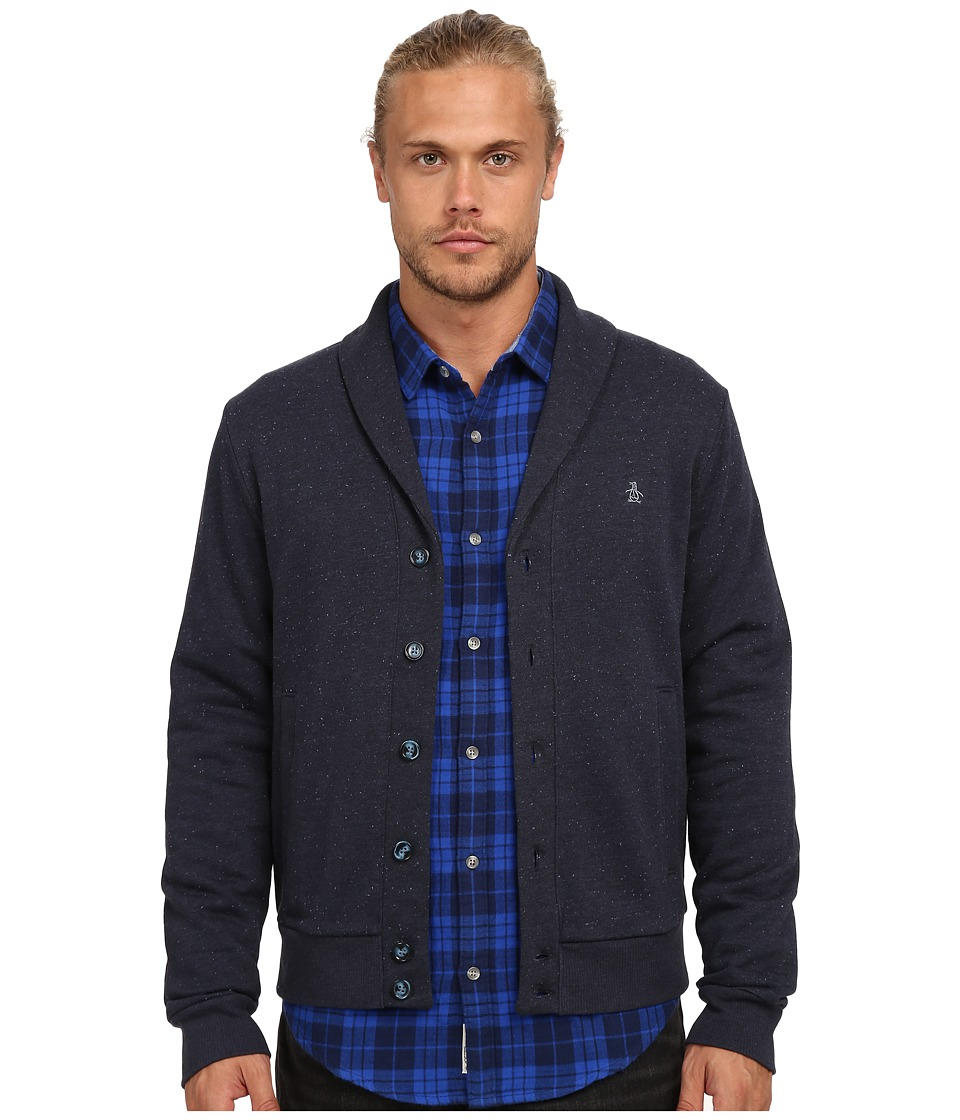 Original Penguin - Nep Fleece Cardigan Heritage (Dark Sapphire) Men's Sweater